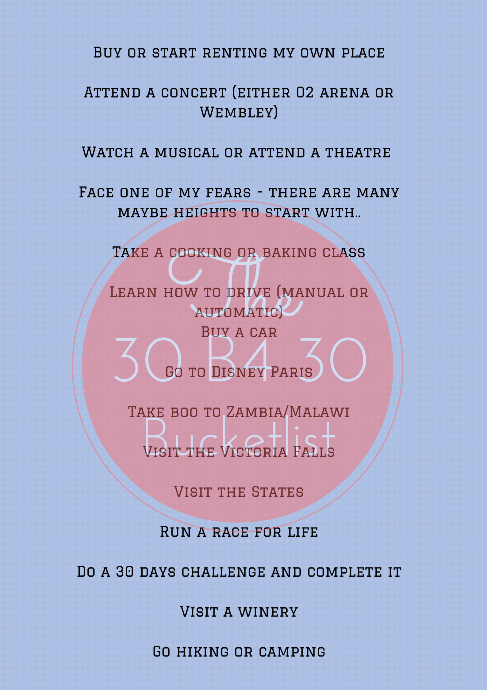 Life Edit 30 Before 30 Bucketlist A July Dreamer