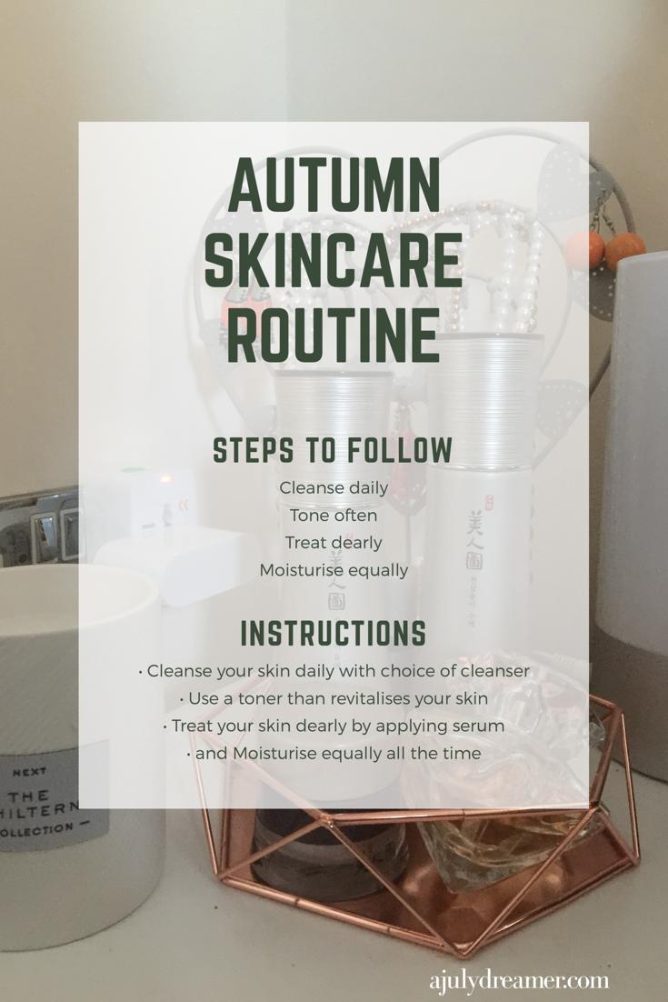 Autumn morning skincare routine